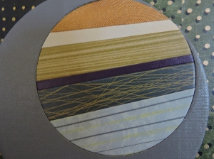 """Circle Rays on Green"" DETAIL, bottom left, by artist Emily Shane"
