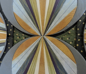 """""""Circle Rays on Green"""" DETAIL, center, by artist Emily Shane"""