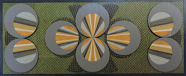 """Circle Rays on Green,"" 13 9/16"" x 35"" by artist Emily Shane"