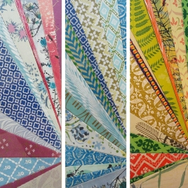 """For Nelda"" DETAIL by Emily Shane (triptych, private collection) 8.75"" x 2.75"" ea / 21"" x 9"" ea framed"