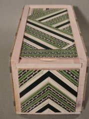 "Green Stripes Keepsake Box, 5"" x 5"" x 10.5"" by artist Emily Shane"