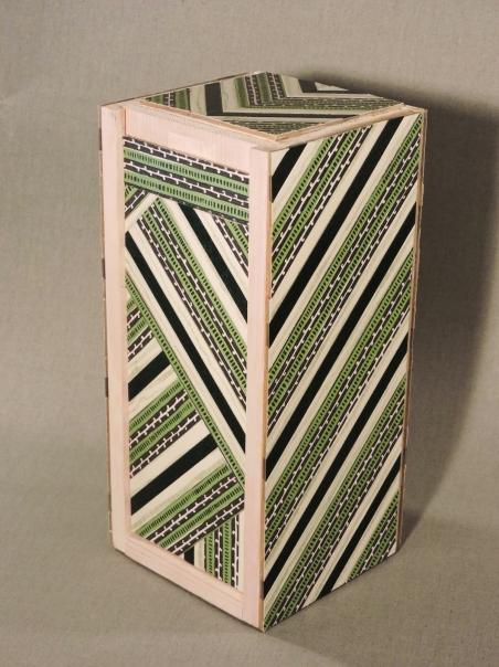 Green Stripes Keepsake Box, Vertical