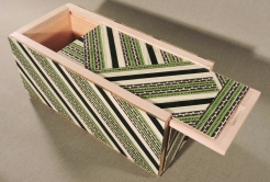 Green Stripes Keepsake Box, lid open by artist Emily Shane