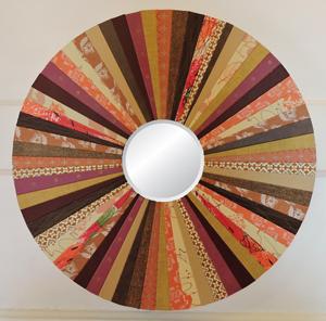 """""""Cozy Chestnut"""" 15-in. diam. Round Mirror by artist Emily Shane"""