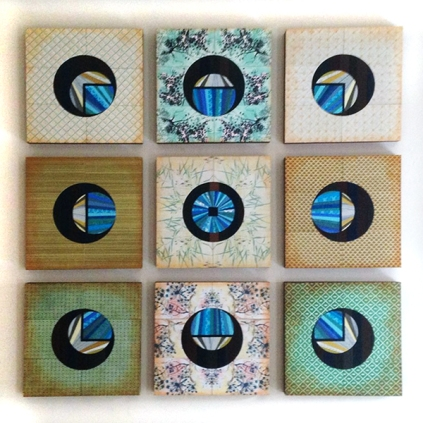 """Oasis"" by Emily Shane, nine 12"" squares"
