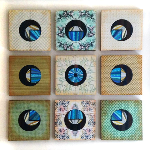 """""""Oasis"""" by Emily Shane, nine 12"""" squares"""