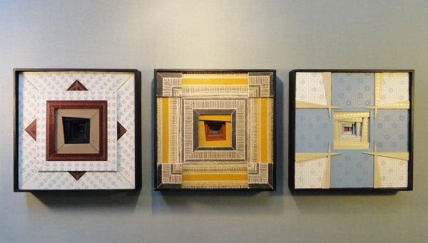"""Reliquary"" (triptych) by Artist Emily Shane  11.25"" x 36.5"" x 1.6875"""