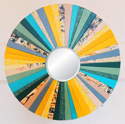"""Trendy Turquoise"" 10-in. diam. Round Mirror by artist Emily Shane"