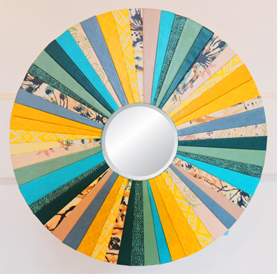 """Trendy Turquoise"" 10-in. diam. Round Mirror by artist Emily Shane"