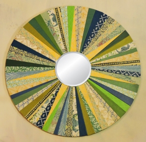 """Yellow Star"" 15-in diam. Round Mirror by artist Emily Shane"
