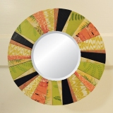 Navy Blue/Spring Green/Coral Round Mirror by artist Emily Shane