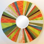 "Orange Green 8"" diam. Round Mirror by artist Emily Shane"