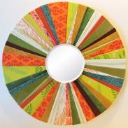 """Orange Green 8"""" diam. Round Mirror by artist Emily Shane"""